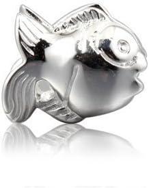 Andante-Stones - Original, Plata de Ley 925 sólida, Cuenta de Plata Pez, Elemento Bola para Cuentas European Beads + Saco de Organza