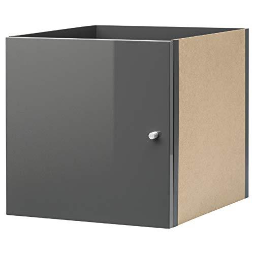 Ikea Kallax Einsatz mit Tür in Hochglanz grau ; (33x33cm); Kompatibel mit EXPEDIT