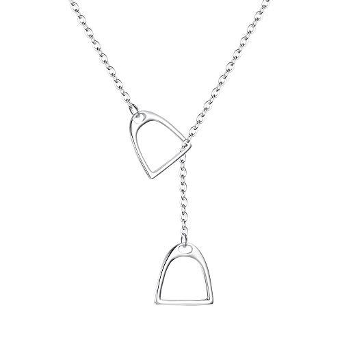 FANZE Damen Halskette 925 Sterling Silber 2 Pferd Huf Steigbügel Lariat Y Stil Anhänger Geschenk Für Ihre Freunde Mit Kette 18