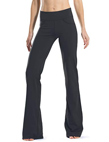"Safort 28"" 30"" 32"" 34"" Inseam Regular Tall Bootcut Yoga Pants, 4 Pockets, UPF50+, Night Black XL"
