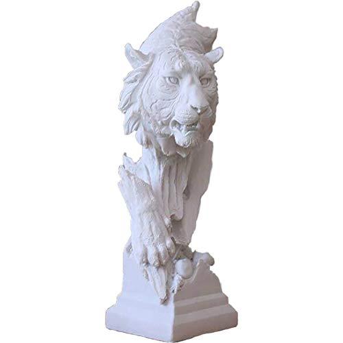 D&LE Tiger Kopf Statue,modernen Tier-skulptur,weiß Dominanten Figuren Handwerk Einrichtung Startseite Büro Veranda Dekoration Geschenk Weiß 23x15x41cm(9.1x5.9x16.1inch)