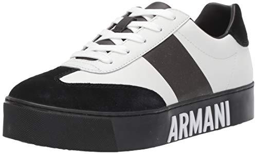 Armani Exchange Cow Suede Lace Up Sneaker, Zapatillas para Mujer, Multicolor (White+ Black D611), 40 EU