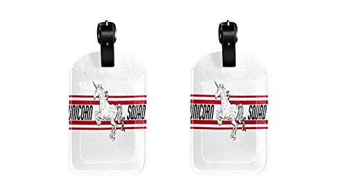Unicorn Squad Maleta de Etiqueta de Equipaje de Cuero de PU, Correa de Cuero Ajustable Resistente a los arañazos, diseño Elegante Paquete de 2