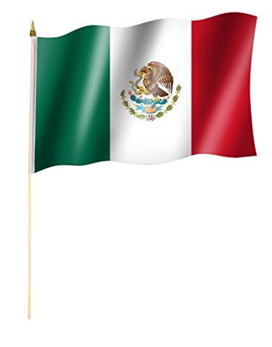 Sportfanshop24 Stockflagge/Stockfahne MEXIKO/Mexico Flagge/Fahne ca. 30 x 45 cm mit ca. 60cm Stab/Stock