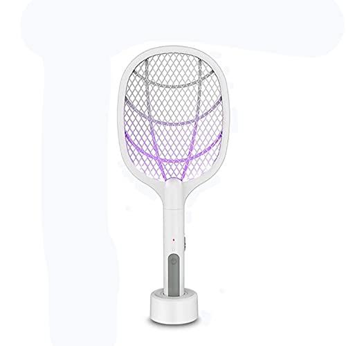 WBYY Raqueta Matamoscas Eléctrica,USB Recargable Raqueta Mosquitos Electrica con Base de Carga, 3 Capas de Malla de Seguridad de Protección
