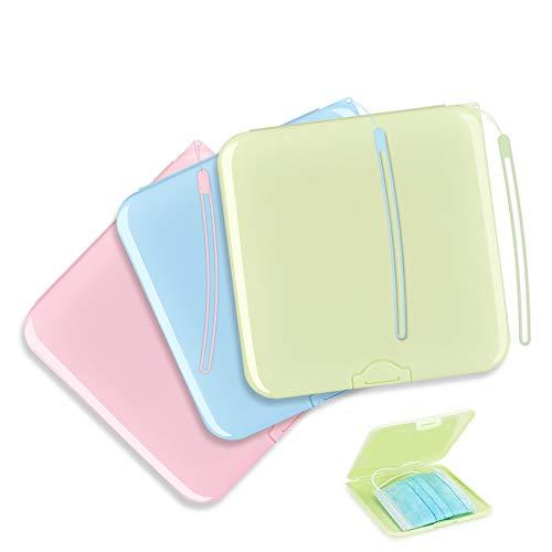 3 Boîtes Rangement Masque Portables en Plastique Boite pour Masque Jetable Sac de Rangement Portable pour Masques avec Cordes Étui de Rangement Réutil