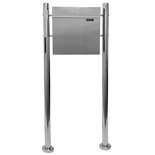Maxstore STILISTA Briefkasten V2A Edelstahl Standbriefkasten mit Zeitungsfach, Postkasten unterschiedliche Designs, Höhe 120-144cm, Schwere Qualität (6-8kg) - 40100042
