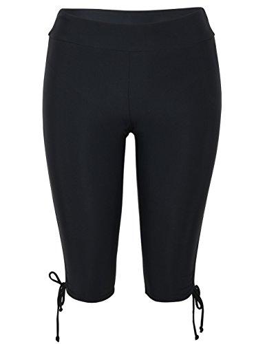 Hilor Women's Rash Guard Board Shorts UPF50+ Sports Capris Swim Bottom Skinny Surfing Tights Leggings Black 14