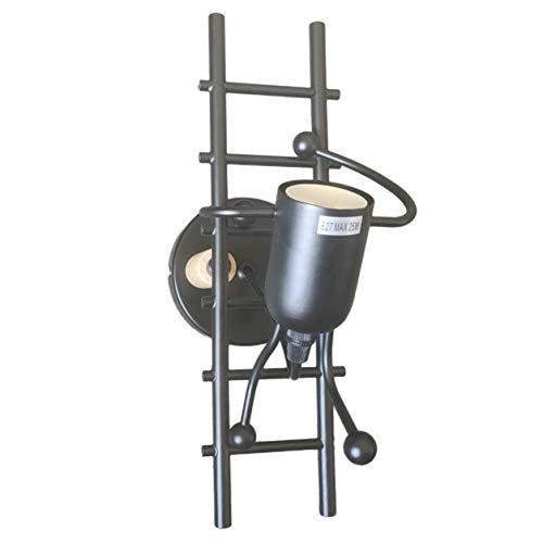 Longspeed Lámpara de Pared Interior humanoide Creativa Retro Sala de Estar Dormitorio Decoratio Personalidad Escalera Robot de Hierro Forjado - Negro