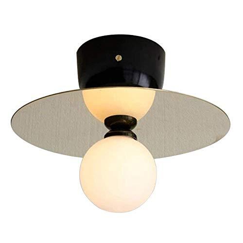 Moderne plafondlamp smeedijzeren led ronde legering plafondlamp creatieve lamp van doorzichtig glas lampenkap restaurant woonkamer kinderkamer bedlampje zwart zuigplaat zwart