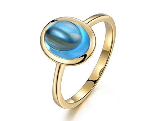 Aeici Gold 750 Ring Damen Siegelringe Für Damen Oval Topas 2.65ct Gold Blau Eheringe Trauringe Verlobung Ringe Größe 57 (18.1)