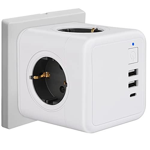 USB Steckdose Würfel, Ohne Kabel Steckdosenleiste 3 Fach Überspannungsschutz mit Schalter, 1 Typ-C, 2 USB Ladegerät (3A), 7-in-1 Steckdosenadapter für Büro, Hause und Reisen (Weiß)