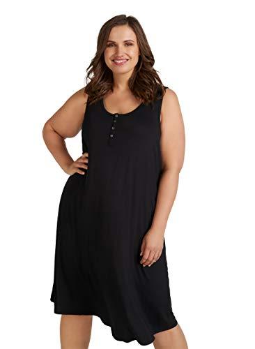 Zizzi Damen Große Größen Kleid aus Viskose mit Rundhalsausschnitt -Schwarz-54-56