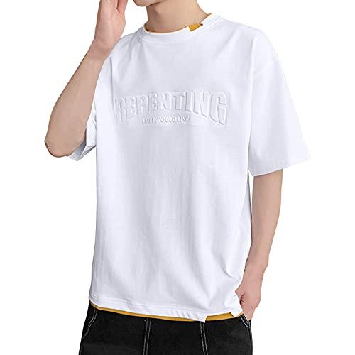 FASHIONN Männer Sports Kurze Ärmeln, atmungsaktive und schnell trocknende Tops, tägliche lässige Männer T-Shirts White-2XL
