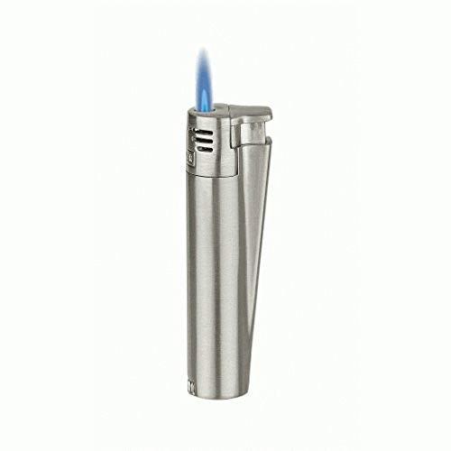 Clipper Original elektronisches Jet-Flame-Feuerzeug, Sturmfeuerzeug, windfest, silberfarben, mit Metall-Geschenkbox
