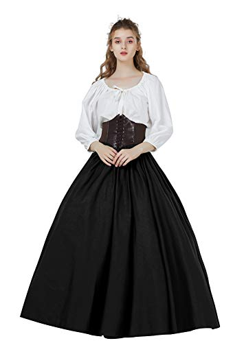 BEAUTELICATE Médiévale Renaissance Jupe Longue en Coton Deguisement Femme Viking Victorien Cosplay Bohème Gitane Steampunk Costume