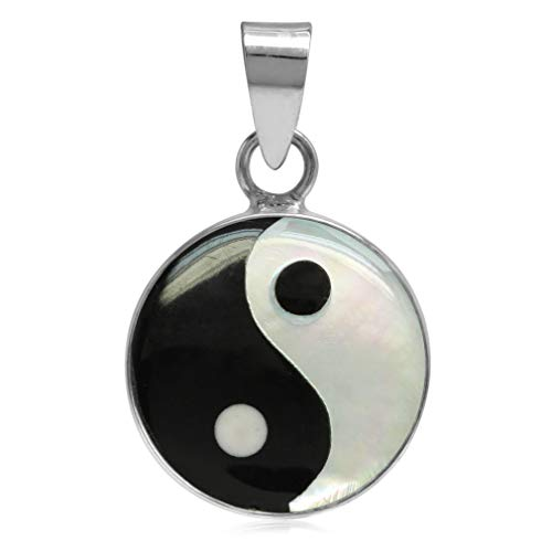 Silvershake 14mm White Mother of Pearl and Created Black Onyx 925 Sterling Silver Yin Yang Pendant