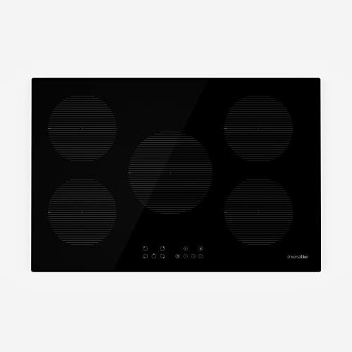 UNIVERSALBLUE Placa Inducción 5 Zonas de Cocción   Encimera Táctil Potencia 8800 W   80 cm  Función Boost + Stop & Go