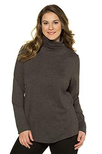 Ulla Popken Große Größen Damen Rollkragenpullover Shirtrolli Basic Grau (Anthrazit 12), 52 (Herstellergröße: 50+)
