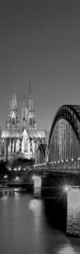 1art1 Köln - Hohenzollernbrücke Und Kölner Dom Bei Nacht S/W Fototapete Poster-Tapete 250 x 79 cm