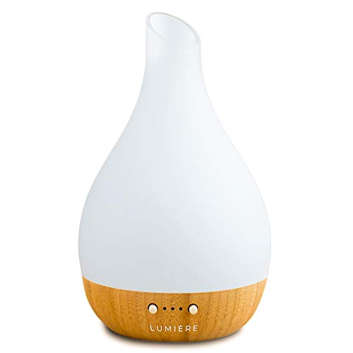 Lumiere Essential Oil Diffuser, Eco-Friendly Ultrasonic Essential Oil Diffuser, Aromatherapy Glass & Bamboo Diffuser, Warm Light & Auto Shut-Off