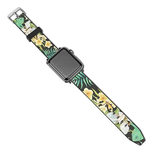 La última correa de reloj compatible con Apple Watch Band 38 mm 40 mm Correa de repuesto para iWatch Series 5/4/3/2/1, patrón sin costuras flores Plumeria orquídea flor vintage