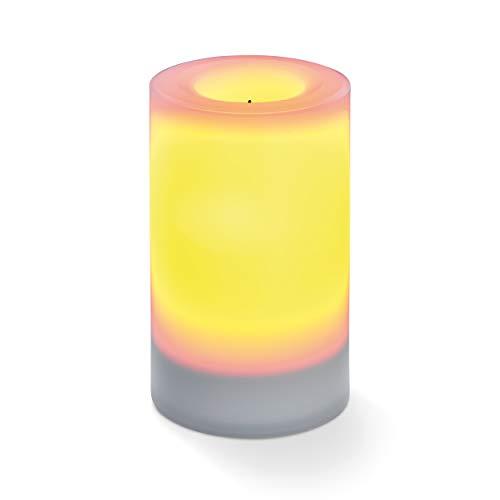 Flammenlose Solar LED-Kerze für Outdoor - (D x H) 75 x 120 mm - unsichtbar integriertes Solarmodul - gelbe LED mit Flackerlicht - Party Kerzenlicht Solarleuchte esotec 102232