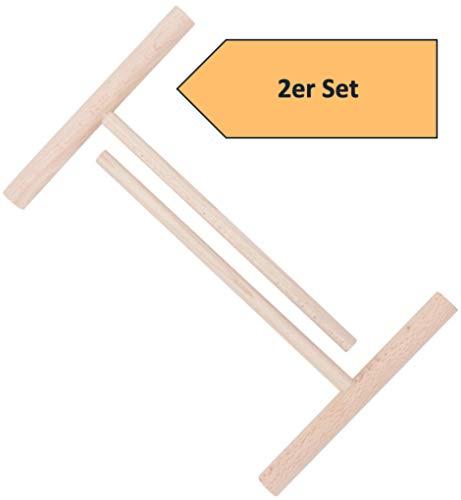 2er SET Crepes Verteiler Teigverteiler aus natürlichem Buchenholz Das perfekte Werkzeug für Crêpes Pfannkuchen Pancake Palatschinken sofort einsatzbereit