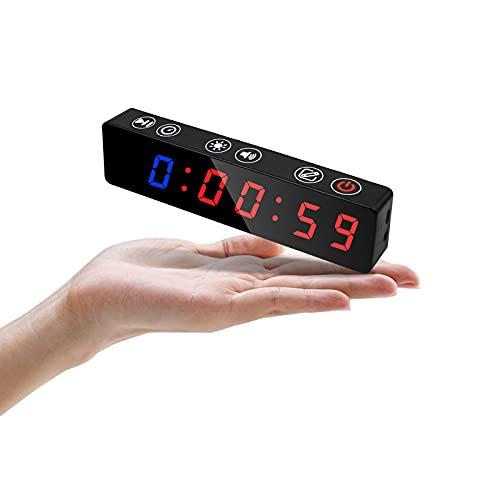 Jhering Mini Temporizador de Entrenamiento de Gimnasio portátil, Temporizador de intervalos con Columna magnética Recargable e incorporada, Reloj Digital LED para Garaje en casa (Azul/Rojo)