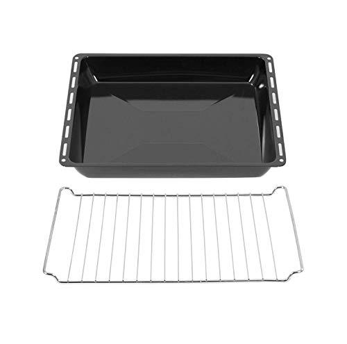 ICQN Bandeja de horno de 445 mm y rejilla de horno | rejilla para horno | esmaltada | apta para Whirlpool Bauknecht Ignis IKEA | 481245819334 481010683241 (445 x 50 con set de rejilla)
