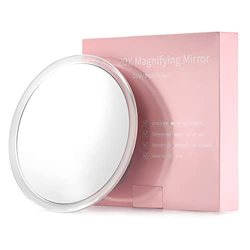 20X Espejo de Aumento con 3 ventosas de Montaje - 15cm - Uso para Espejo de Maquillaje - Depilación de Cejas - Pinzas - Eliminación de Puntos Negros y Manchas Viajes y hogar