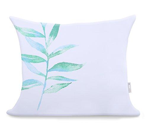 2 Fundas De Almohada 50x60 cm Modern algodón satén Mako satén Ducato Collection Herbal Blanco Verde