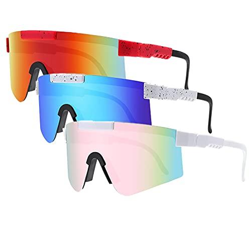 Tmpty Paquete de 3 gafas de sol deportivas, polarizadas para hombres y mujeres, 100% anti-UV, pesca de béisbol, esquí, correr, golf