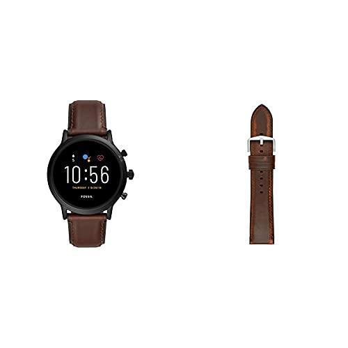 Fossil Smartwatch Pantalla táctil para Hombre de Connected con Correa en Piel FTW4026, Cuero Marrón Oscuro + Correa de Reloj S221299, Marrón