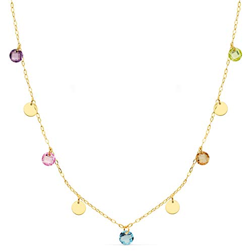 Alda Joyeros Collar Chapitas Colores para Mujer Oro Amarillo 18 Kilates (750) Colgantes Monedas 40cm