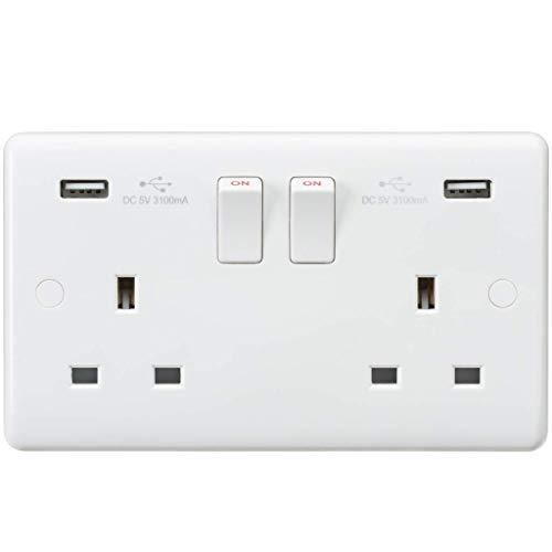 Knightsbridge schakelaar, met gebogen randen 13A 2G geschakeld stopcontact met dual USB-oplader (5 V, DC, 3,1 A, gedeelde wit