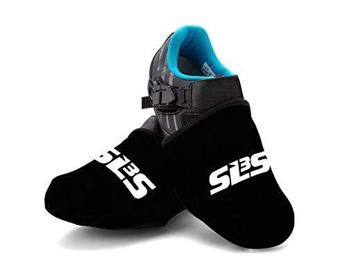 SLS3 Zehenwärmer Überschuhe | Fahrrad Radsport | Wasserdicht Winddicht | Neopren Zehenschutz (Black, L/XL)