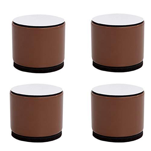 4 elevadores de muebles elevadores, acero al carbono, resistente, redondo, patas de muebles autoadhesivas, para sofá, armario, estantería, aparador, soporta 2000 kg, marrón (60 x 52 mm)