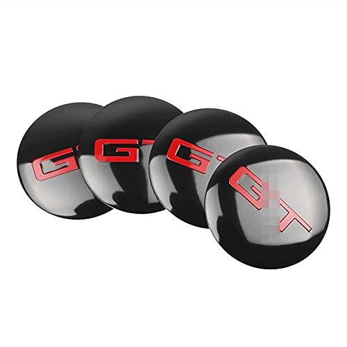 4 tapacubos de 56/60 mm, compatibles con emblema de GT para llantas de coche, a prueba de polvo, compatibles con BMW, Audi, Kia, Ford, Nissan Toyota (color: GT Sticker)