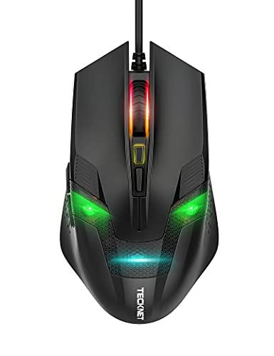 TECKNET Wired Gaming Mouse 6 Color RGB Spectrum Backlit, Intelligent Sensor up to 8000 DPI, Ergonomic USB Mice Comfortable Grip for Laptop PC Gamer Computer Desktop (Black)