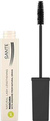 SANTE Naturkosmetik Natural Lash Lengthening Mascara 01 Black, Schwarze Wimperntusche für lange & definierte Wimpern mit besonders feiner Bürste, Vegan, 8ml