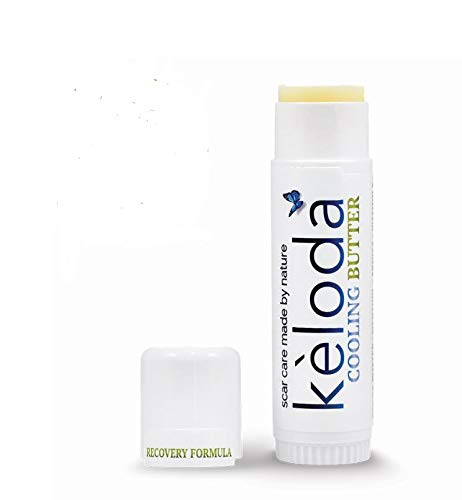 KELODA Scar & Keloid Removal Butter Stick with Menthol   Cooling Balm for Painful, Irritated & Itching Scars & Keloids from Piercings & Burn  With Cocoa, Shea Cream Butter, Coconut & Jojoba Oil