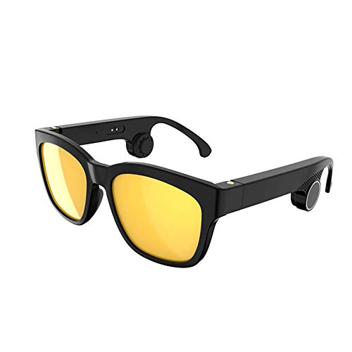 Auriculares inalámbricos Bluetooth 5.0 de conducción ósea polarizados con gafas de sol deportivas estéreo de música IP55 impermeables a prueba de sudor con micrófono para Android/iOS (negro amarillo)