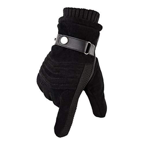 MUCO Winterhandschuhe Herren Warme Handschuhe Plus Velvet Touchscreen Texting Rutschfest Verstellbarer Handgelenkriemen Herrengröße Schwarz und Braun, Glr-01, Einheitsgröße