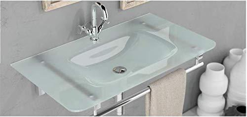 Waschbecken - Design Milchglas Glas Aufsatz Waschbecken Einbau, 810 x 460 x 140mm (Sun Cristal) von Art-of-Baan®