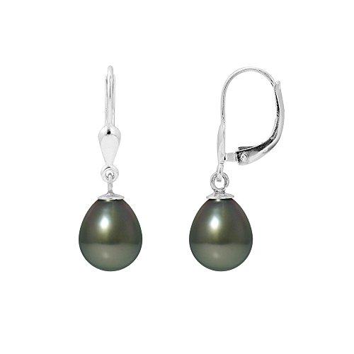 Ohrringe Schwarze Tahitiperle und Silber 925/1000 - Blue Pearls - BPS K383 W