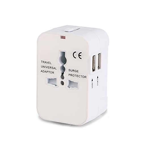 Internacional Adaptador de Corriente de Viaje USB Universal,2 Puertos USB Cargador de Pared Universal Enchufe , para Japón Canadá USA EU UK,White