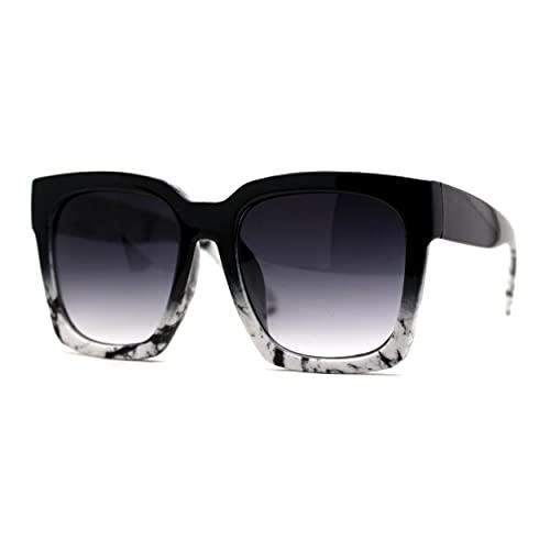 Gafas de sol de plástico grueso con borde cornudo para mujer, Negro (Negro Blanco), Talla única