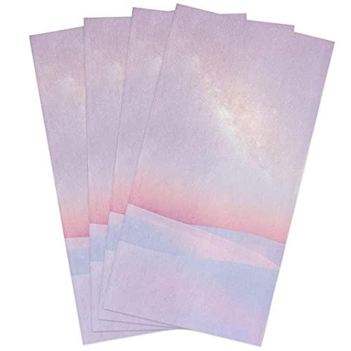 Big buy store Desert Starry Sky Milky Way Kitchen Dish Towels Set of 4, Soft Lightweight Microfiber Absorbent Hand Towel Pink Tea Towel for Kitchen Bathroom 18x28in