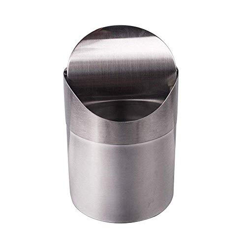 OceanEC Recycling Trash Can with Lid, Small Wave Cover Counter Top Trash Can Garbage Bin for Kitchen Bathroom Office Use (Silver)